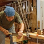 The vertical shoulders of the tenon are sawn.