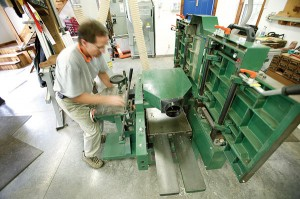 Mehler chose this Felder combo machine (jointer, mortiser, sliding table saw and shaper) because he insists that it incorporates superior safety features.