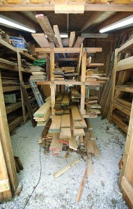 This 16' x 16' lumber shed is easily accessible  from both inside and outside the ground floor of the shop.