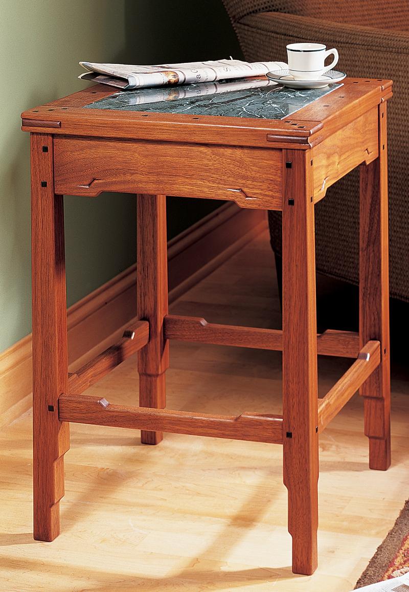 Greene and greene style side table popular woodworking for Greene and greene inspired furniture