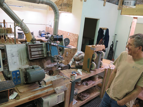 Jeske's first homemade lathe – still in use.