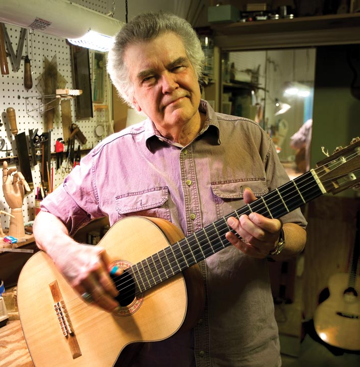 Singer, songwriter and luthier Guy Clark in his Nashville workshop, where he crafts guitars and award-winning songs.