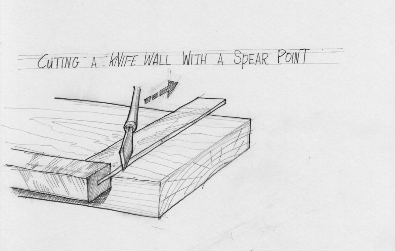 Serrating the knife wall with a spear point striking knife