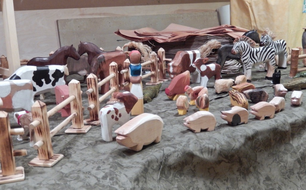 Wooden animals carved by our students' parents for the Rudolf Steiner School Fall fair