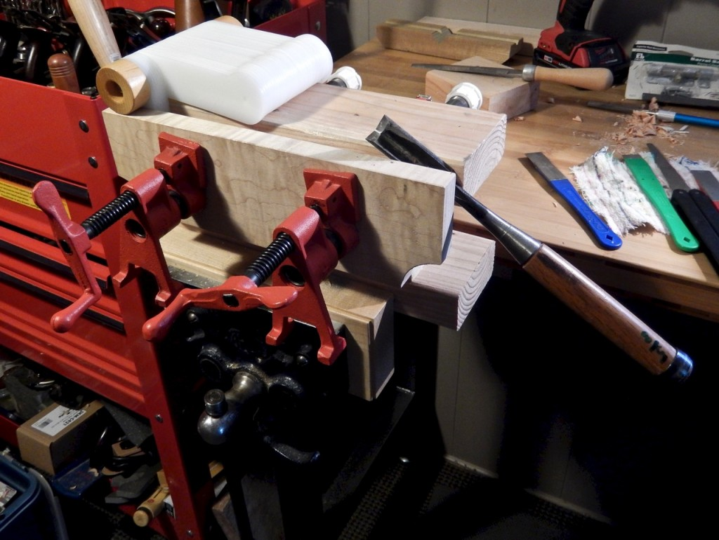I use my Bench bull when I need to have the projects I am working on  closer to my eyes and shoulders. Here I secure a corner chisel during sharpening.