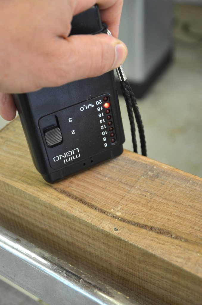 After crosscutting and re-sawing the beam I checked its moisture content, which was high.