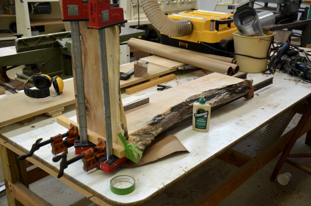 Clamping the miter joint together.