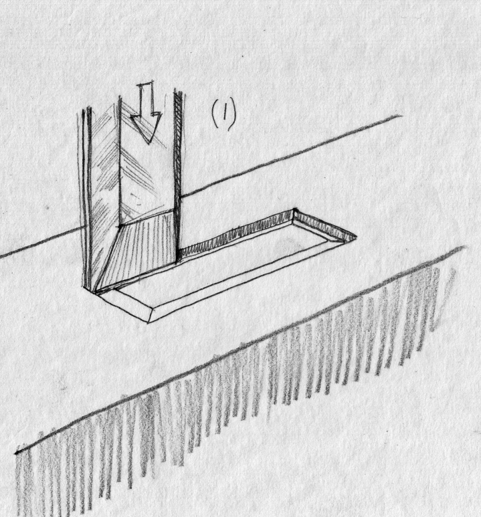 To make the beveled frame inside the mortise's parameter stab vertically (chisel bevel facing inward) on the borders of the rectangular layout.