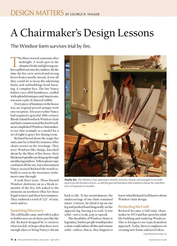 In His April 2013 Design Matters Column, George R. Walker Introduced To Our  Pages The Work Of Windsor Chairmaker Richard Grell, And Shared The  Fascinating ...