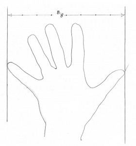 Hand span. Step off the space of one hand with dividers into eighths; then use those eighths to derive every dimension on your stool.