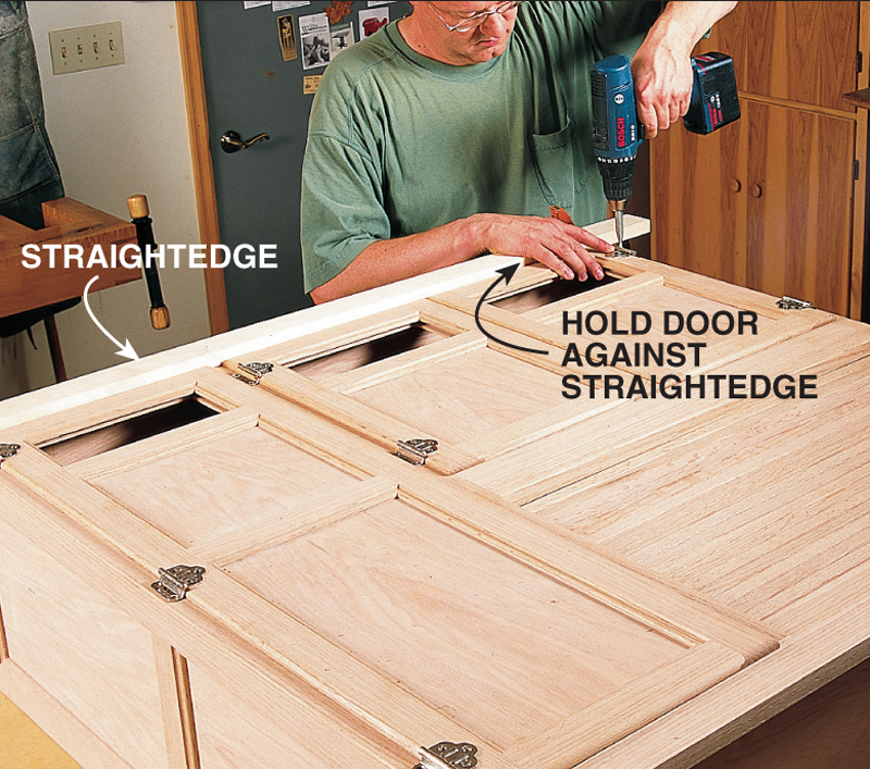 Mount the doors on the cabinet centered in the openings. Their 3u20448-in.-wide lips allow room for minor adjustments. A straightedge cl&ed evenly across the & Hoosier Cabinet - Popular Woodworking Magazine
