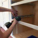 Blum Tandem slides being installed with jig