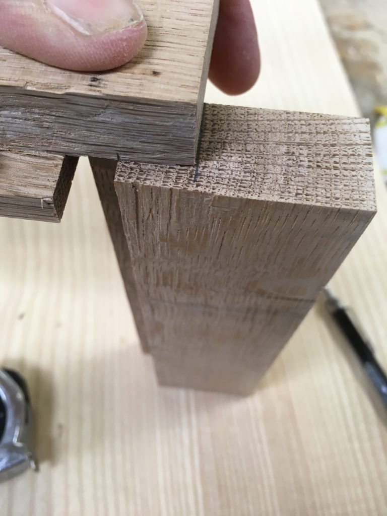 determining the back shoulder of the tenon for rabbeted door frame