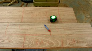 layout marks with lumber crayon