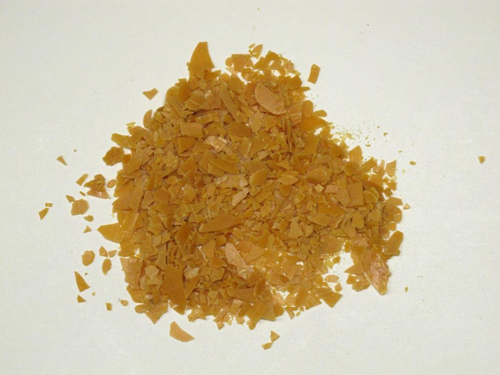Carnauba wax flakes.