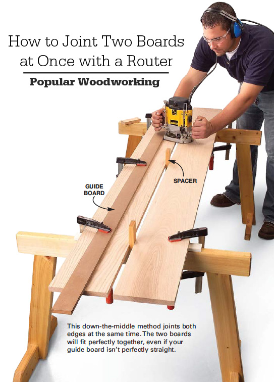 How to joint two boards at once with your router popular this trick first appeared in american woodworker jointer router pop wood editors greentooth Images
