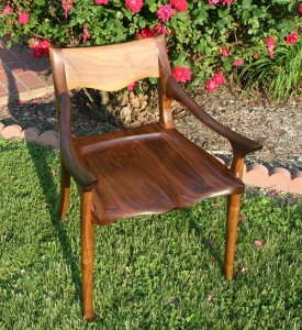 Jalen's recently completed low-back chair, Sam Maloof style.