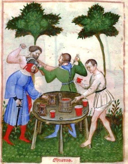 "A drunken brawl in ""Tacuinum Sanitatis."""
