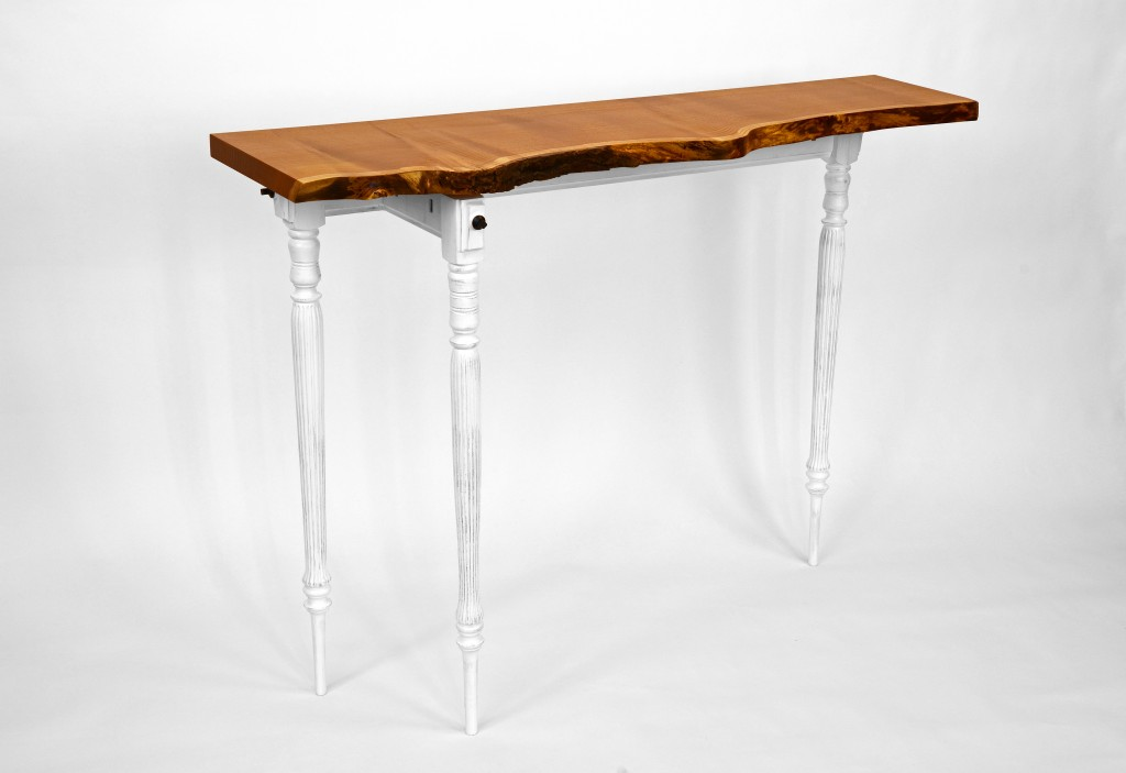 Mulberry Trio, console table Mulberry, oak, steel, milk-paint. 52L x 36H x 17.5W inches,