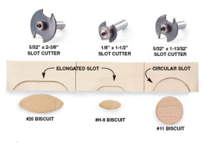 Many manufacturers offer biscuit joining bits. Some use a single 5/32-in. slot cutter plus different sizes of bearings for different biscuit sizes. Others offer three separate bits for each biscuit. The MLCS system shown above uses three different bits. A specialized round biscuit fits the midsize bit without the need to elongate the slot. It's perfect for joining face-frame stock and can be used on rails as narrow as 1-1/2 in.