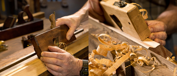 then, holding a rebate plane at 45 degrees, I deepen the groove. I use a second rebate plane with the iron set to the opposite face to direct the groove, taking off waste from both sides, as required.