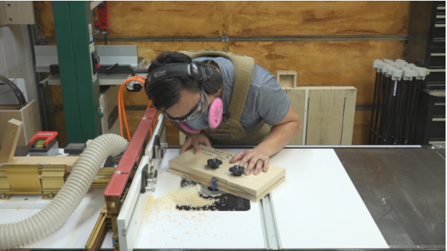 Running the test piece through the router table.
