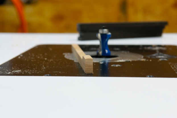 Adjust the height of the router bit until you have an evenly distributed pillowed profile.
