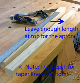 Details on cutting the tapered legs.