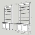 built-in shelving, built-in desk
