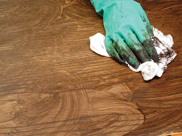 Work fast to avoid stain streaks