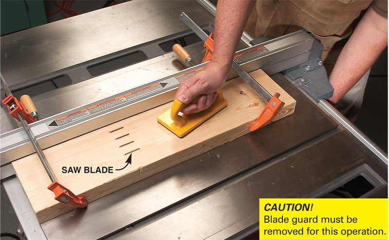 How to make a table saw cabinet at home diy plans make the blade holder on your tablesaw cut a series of blade shaped slots in a clamped on 26 by slowly raising the blade until it just breaks through the greentooth Image collections