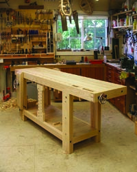 """Jameel's woodshop is located adjacent to his home and occupies what was once a two-car garage. Here, he always has a project in the works and tests Benchcrafted products """"in context,"""" he says."""