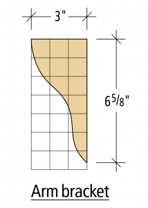 The arm bracket of my Adirondack chair project plan features an S-shaped curve.