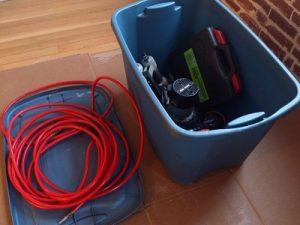 Dan's blue bin of tools