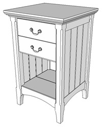 Cherry Bedside Table Perspective View