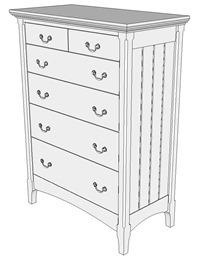 SketchUp Model of Cherry Chest