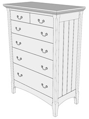 Cherry chest modeled in SketchUp for woodworkers