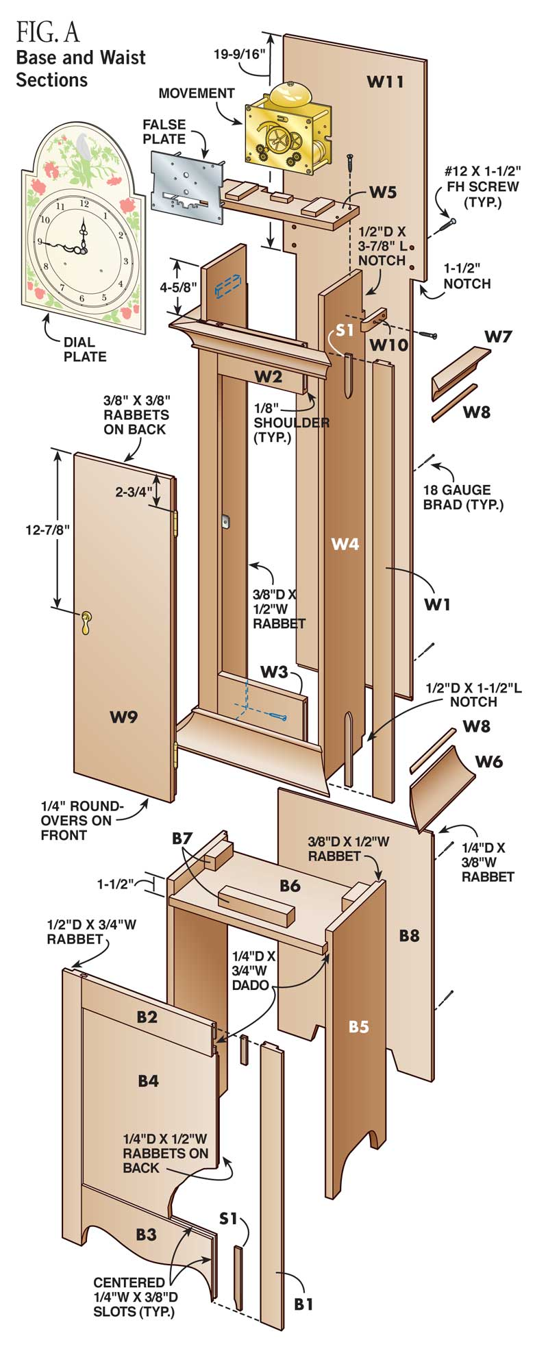 How to make a grandfather clock diy standing clock plans fig a base and waist sections malvernweather Gallery