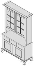 Six-Pane Oak Hutch Rendered In Parallel Projection