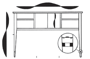 A George Walker woodworking design that shows furniture proportions.