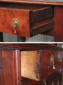 Change in runners. In the Jacobean period, drawers were usually on side-hung runners (left). In the  William & Mary period, runners slipped beneath the drawers.