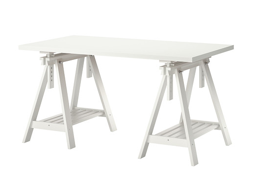 Some aspects of this IKEA trestle-based table make it a good candidate for design adaptation for woodworkers.