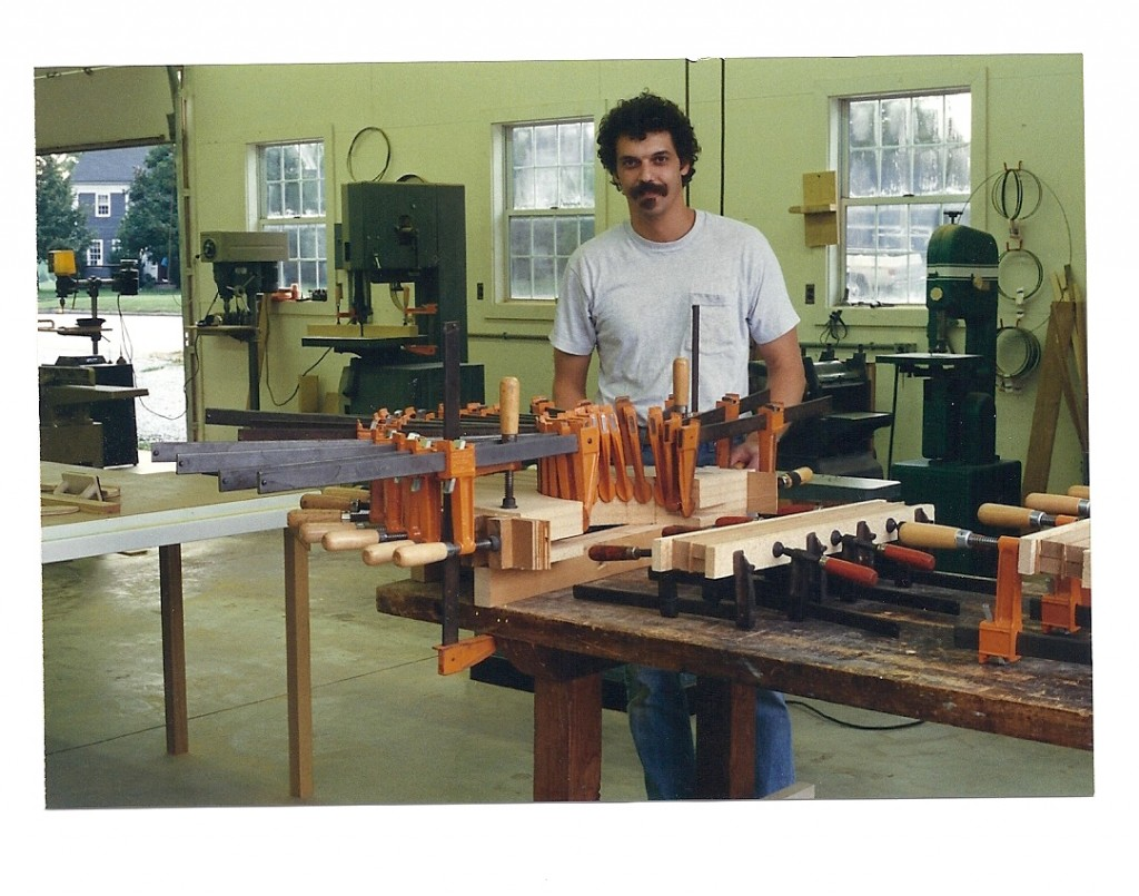 Here's a photo of me around 1995 when I was making a cherry demilune table at Peter Korn's first school in Camden, ME. In this shot I'd just finished clamping the glue lam for the curved apron. Around the same time, my team and I were producing some amazing books at Rodale.