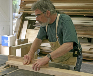 Bob Lang midway through building his workbench.