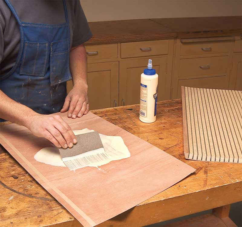 Attach the back veneer with yellow wood glue & How to Make Curved Doors: A Free DIY Curved Door Plan