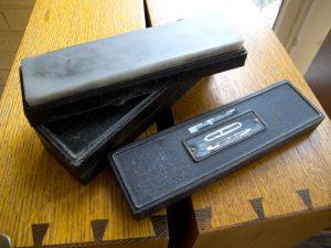 Iron oilstone boxes.