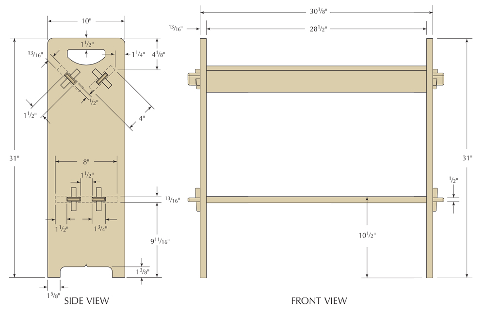 Drawing Of Stickley 74 Bookrack From Popular Woodworking