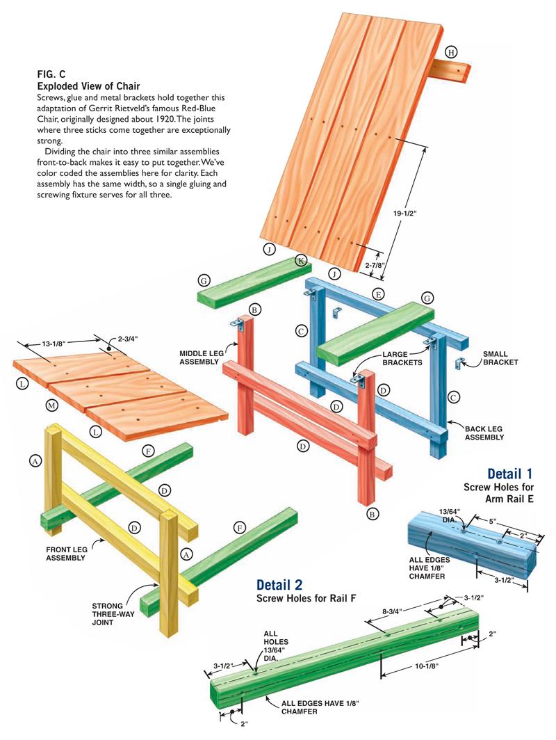 AW Extra – Reitveld Chair   Popular Woodworking Magazine Gerrit Rietveld Chair Plans