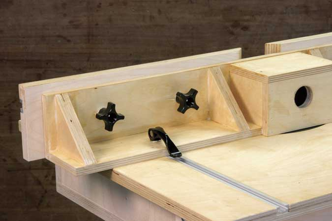 One weekend router table popular woodworking magazine router table after drilling clearance holes you can locate the holes in the fence faces and add the knobs greentooth Choice Image