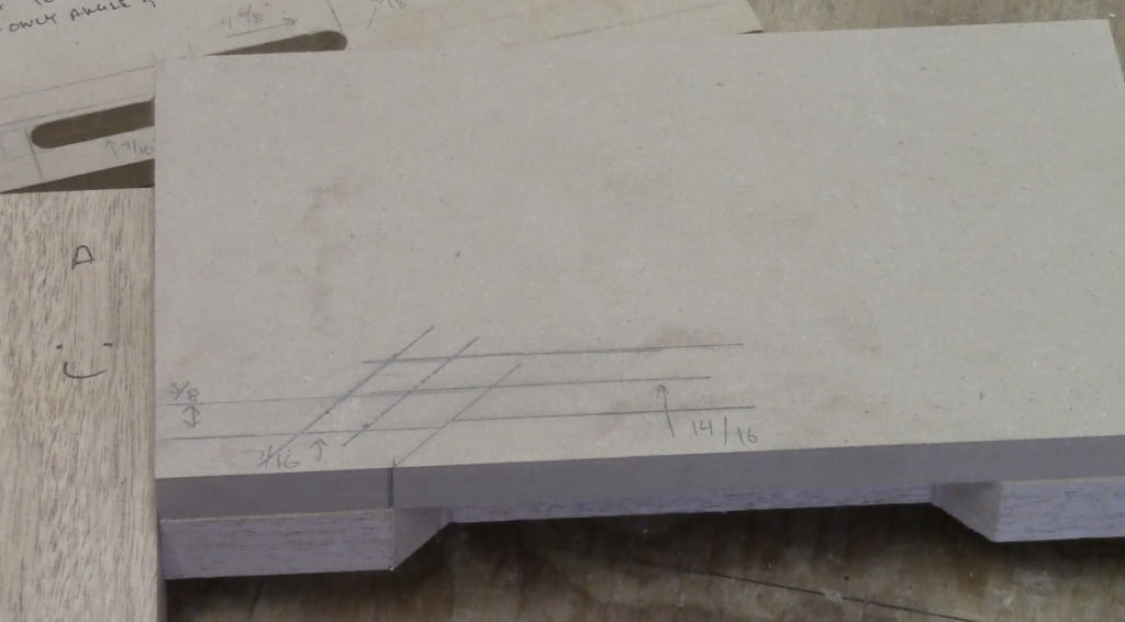 """4. Align a ruler to the 45 degree angle line, make ticks marks ½"""" up and another 3/8"""" above that and connect them with your square and intersect them with your lower lines set at 45 degrees"""
